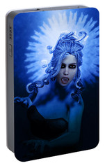 Gorgon Blue Portable Battery Charger by Joaquin Abella