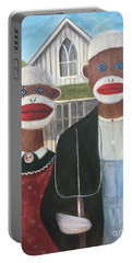 Portable Battery Charger featuring the painting Gothic American Sock Monkeys by Randol Burns