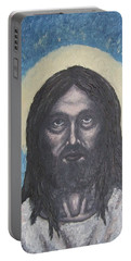 Portable Battery Charger featuring the painting Gothic Jesus by Michael  TMAD Finney