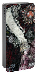Portable Battery Charger featuring the mixed media Gothic Punk Goddess by Genevieve Esson