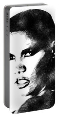 Grace Jones Bw Portrait Portable Battery Charger by Mihaela Pater