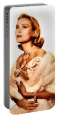 Grace Kelly, Vintage Actress By John Springfield Portable Battery Charger by John Springfield