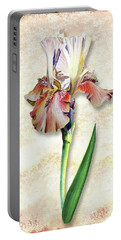 Portable Battery Charger featuring the painting Graceful Watercolor Iris by Irina Sztukowski