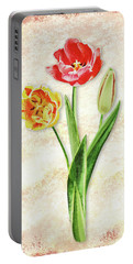 Portable Battery Charger featuring the painting Graceful Watercolor Tulips by Irina Sztukowski