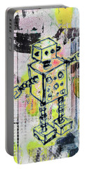 Graffiti Graphic Robot Portable Battery Charger by Roseanne Jones