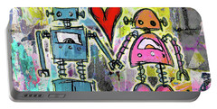 Graffiti Pop Robot Love Portable Battery Charger by Roseanne Jones