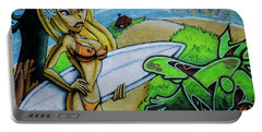 Graffiti-surfgirl Portable Battery Charger