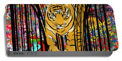 Portable Battery Charger featuring the mixed media Graffiti Tiger by Sassan Filsoof