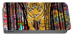 Graffiti Tiger Portable Battery Charger by Sassan Filsoof
