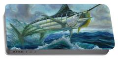 Grand Blue Marlin Jumping Eating Mahi Mahi Portable Battery Charger
