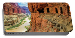 Portable Battery Charger featuring the painting Grand Canyon Cliff Granaries by Christopher Arndt