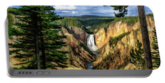 Portable Battery Charger featuring the painting Grand Canyon Of The Yellowstone Waterfall by Christopher Arndt