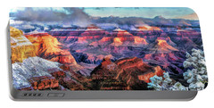 Portable Battery Charger featuring the painting Grand Canyon Snow by Christopher Arndt