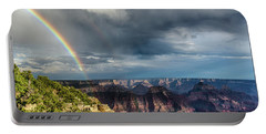 Portable Battery Charger featuring the photograph Grand Canyon Stormy Double Rainbow by Gaelyn Olmsted