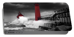 Grand Haven Lighthouse In A Rain Storm Portable Battery Charger