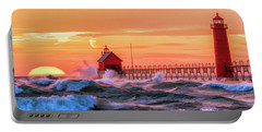 Portable Battery Charger featuring the painting Grand Haven Lighthouses by Christopher Arndt