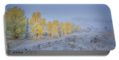 Grand Teton Fall Snowfall Scene Portable Battery Charger
