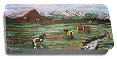 Portable Battery Charger featuring the painting Grand Teton Mountains by Michelle Joseph-Long