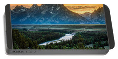 Grand Teton National Park Sunset Poster Portable Battery Charger by Gary Whitton