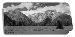 Grand Tetons In Black And White Portable Battery Charger