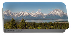 Grand Tetons Over Jackson Lake Panorama Portable Battery Charger