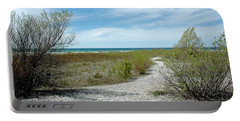 Portable Battery Charger featuring the photograph Grand Traverse Bay Path by LeeAnn McLaneGoetz McLaneGoetzStudioLLCcom