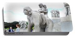 Grandchildren Riding On Grandmothers Back Portable Battery Charger by Allan Levin