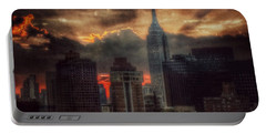 Portable Battery Charger featuring the photograph Grandeur Of The Past - Empire State At Sunset by Miriam Danar