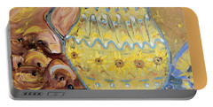 Portable Battery Charger featuring the painting Grandma's Pitcher by Evelina Popilian