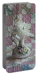 Grandmother's Vase And Her Son's Quilt Portable Battery Charger