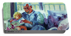 Portable Battery Charger featuring the painting Grandpa Reading by Kathy Braud