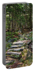 Portable Battery Charger featuring the photograph Granite Steps, Camden Hills State Park, Camden, Maine -43933 by John Bald