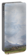 Portable Battery Charger featuring the painting Grantsville Skies by Jane Autry