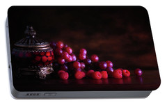 Grape Raspberry Portable Battery Charger by Tom Mc Nemar
