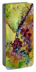 Portable Battery Charger featuring the painting Grapes And Leaves IIi by Karen Fleschler