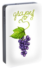 Portable Battery Charger featuring the painting Grapes by Cindy Garber Iverson
