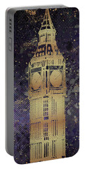 Portable Battery Charger featuring the digital art Graphic Art London Big Ben - Ultraviolet And Golden by Melanie Viola