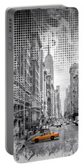 Portable Battery Charger featuring the photograph Graphic Art New York City 5th Avenue by Melanie Viola