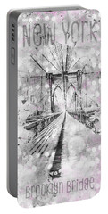Portable Battery Charger featuring the photograph Graphic Art New York City Brooklyn Bridge by Melanie Viola