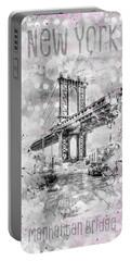 Graphic Art New York City Manhattan Bridge Portable Battery Charger