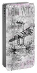 Portable Battery Charger featuring the digital art Graphic Art New York City Manhattan Bridge by Melanie Viola