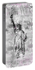 Portable Battery Charger featuring the photograph Graphic Art New York City Statue Of Liberty by Melanie Viola