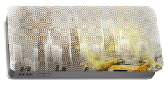 Graphic Art New York Mix No. 6 - Brown And Yellow - Splashes Portable Battery Charger