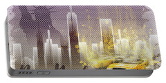 Graphic Art New York Mix No 6 - Purple - Splashes Portable Battery Charger