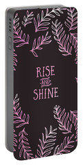 Portable Battery Charger featuring the digital art Graphic Art Rise And Shine - Pink by Melanie Viola