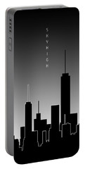 Graphic Art Skyhigh Panoramic - Black And White Portable Battery Charger