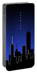 Graphic Art Skyhigh Panoramic - Blue Portable Battery Charger