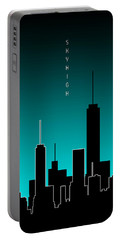Graphic Art Skyhigh Panoramic - Cyan Portable Battery Charger