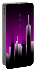 Graphic Art Skyhigh Panoramic Lights - Pink Portable Battery Charger