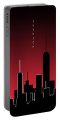 Graphic Art Skyhigh Panoramic - Red Portable Battery Charger
